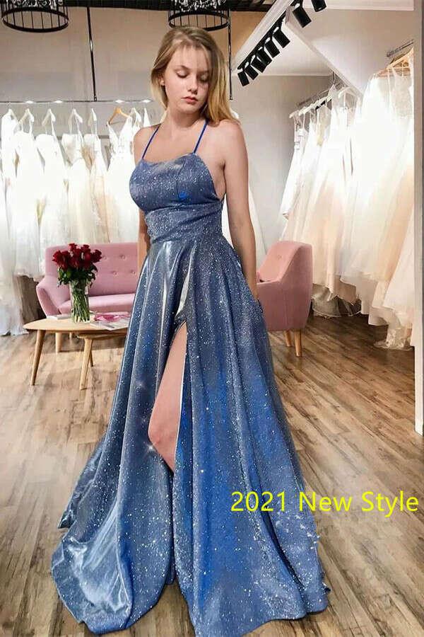 Kateprom Sparkly Spaghetti Straps Prom Dresses, Graduation Dress With Split KPP1351