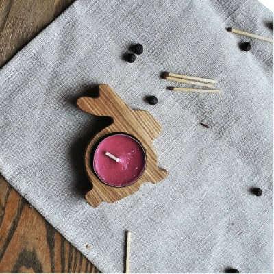 Подсвечники деревянный «Зайка»