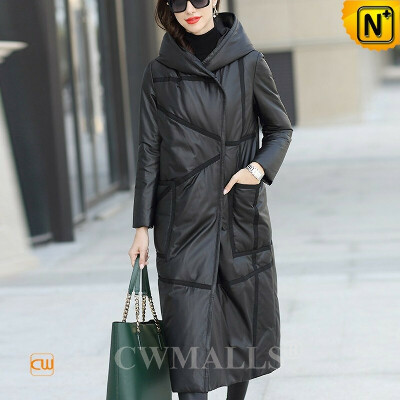 Women Down Coat   Down Filled Lambskin Leather Long Coat CW602637   CWMALLS®