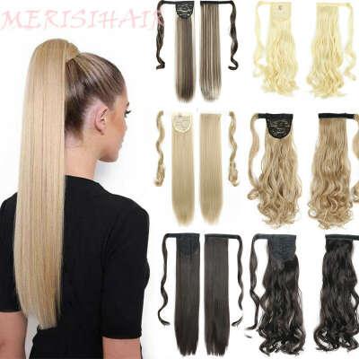 215.14руб. 44% СКИДКА|MERISIHAIR, длинные прямые волосы для наращивания на заколках, термостойкие синтетические накладные волосы на хвосте пони|Синтетические хвостики|   | АлиЭкспресс