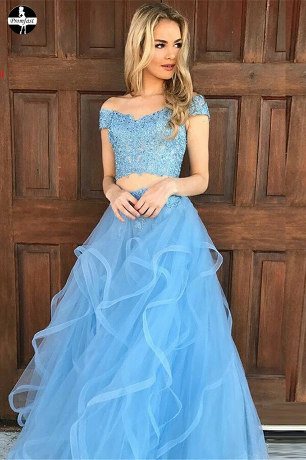 Promfast Sky Blue Tulle Two Piece Off the Shoulder Prom Dresses with Appliques PFP1989