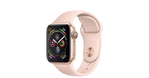 Apple Watch - Корпус изалюминия золотого цвета, спортивный ремешок цвета «розовый песок»