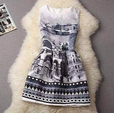 Платье С Принтом Города