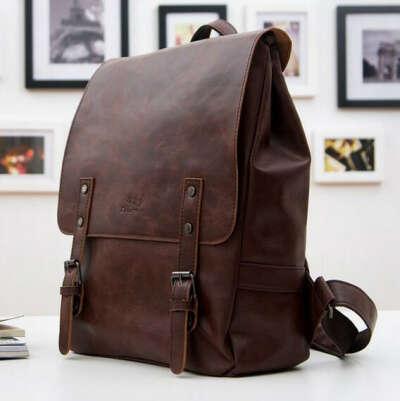 Коричневый кожаный рюкзак