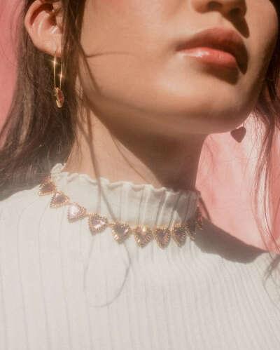 Pink Heart Choker Necklace | En Route Jewelry