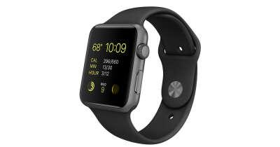 Apple Watch Sport - Корпус 42 мм из алюминия цвета «серый космос», чёрный спортивный ремешок