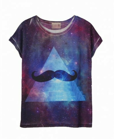 Mustache and Galaxy Tie Dye Tee
