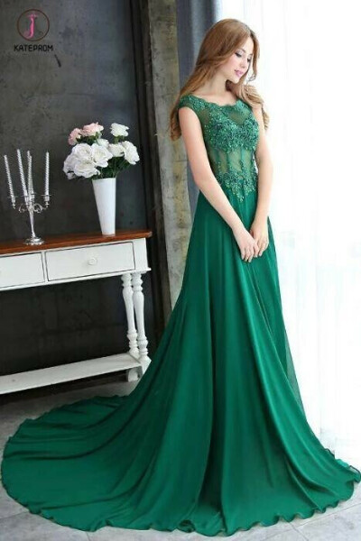 A-line Dark Green Cap Sleeve Scoop Applique Chiffon Long Prom Dress with Beaded KPP0373
