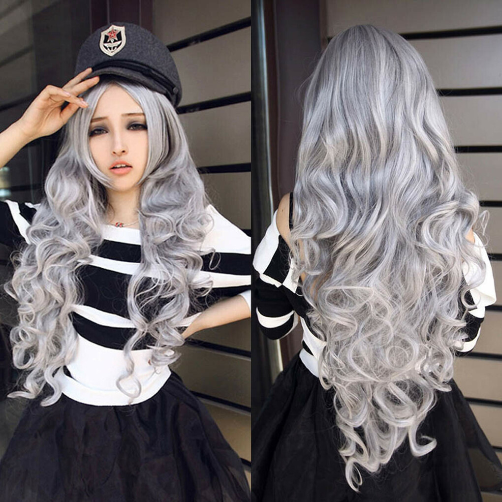 Новинка женщины камень серый с вьющимися волнистые волосы полный косплей лолита ну вечеринку парик BS88 купить на AliExpress