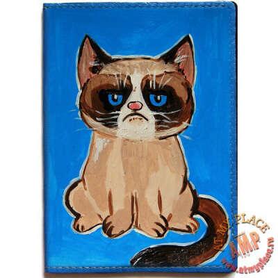 Обложка на паспорт Grumpy Cat