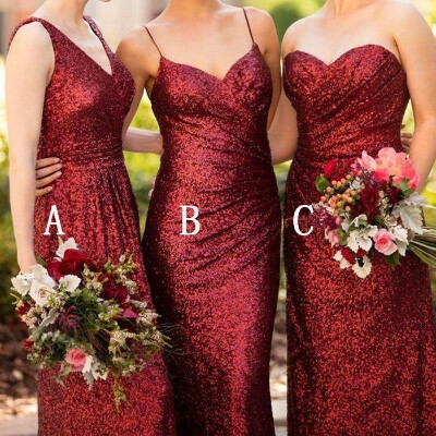 Cheap Mismatched Dark Red Sequin Long Bridesmaid Dresses, Affordable Unique Custom Long Bridesmaid Dresses, Affordable Bridesmaid Gowns, BD109