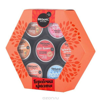 Organic Shop Подарочный набор Коробочка красоты (Шампунь, 100 мл + Бальзам, 100 мл + Скраб для тела, 100 мл + Густое мыло для душа для волос и тела, 100 мл + Крем-духи для тела, 100 мл + Крем для ног, 100 мл + Скраб для ног, 100 мл)