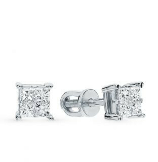 Золотые серьги с бриллиантами (8х0,52к)