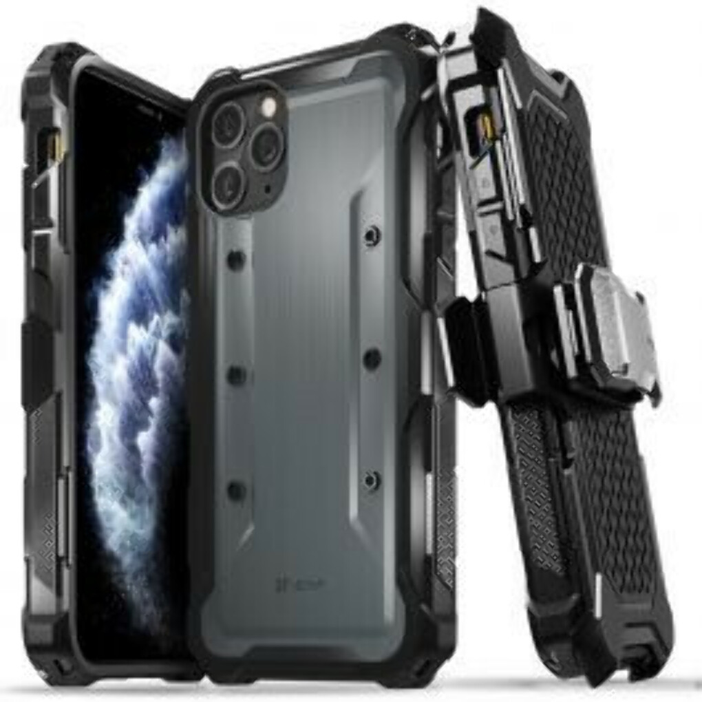 """VENA iPhone 11 Pro Max Rugged Case, vArmor (Military Grade Drop Protection) Heavy Duty Holster Belt Clip Cover with Kickstand Designed for Apple iPhone 11 Pro Max (6.5""""-inch) - Space Gray"""