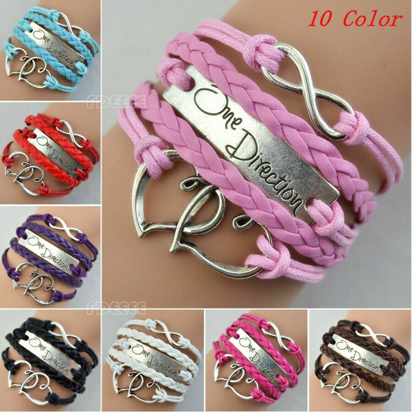 One Direction Love Heart Hand-knitted Leather Charms Bracelet Friendship SL0377