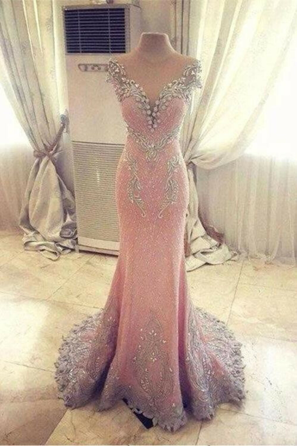 Luxury Mermaid Backless Pink Fashion Prom Dress,Sexy Party Dress,Formal Evening Dress PFP0856