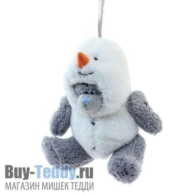 Мишка в костюме снеговика - украшение на ёлку