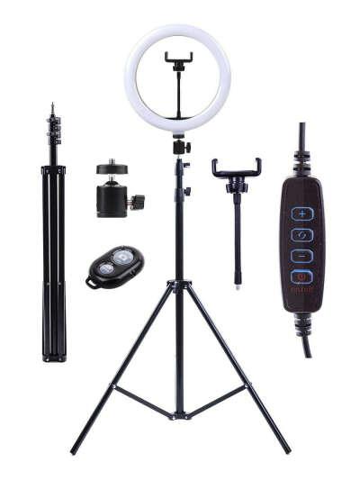 Кольцевая LED лампа диаметром 26 см со штативом, держателем для телефона и Bluetooth-пультом , Кольцевая лампа