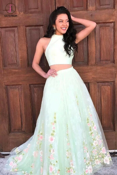 Elegant Two Piece Mint Green Jewel Sleeveless A-line Floral Long Prom Dress KPP0333