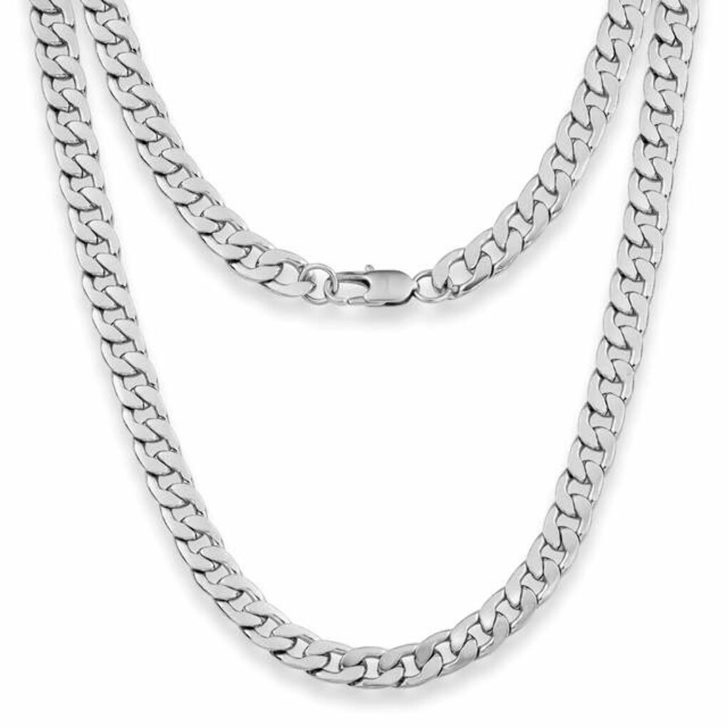 9mm Flat Curb Mens Necklace - Silver Chain Stainless Steel Jewellery (07)