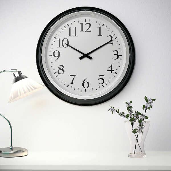 Часы IKEA бравур черные настенные