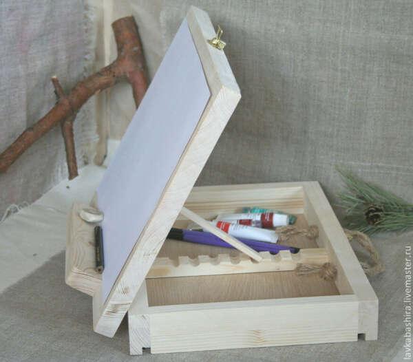 Мольберт-планшет настольный с пеналом (ящиком) для красок 24х31