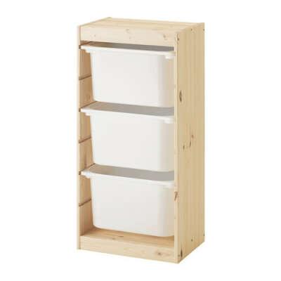 ТРУФАСТ Комбинация д/хранения+контейнерами - светлая беленая сосна/белый  - IKEA