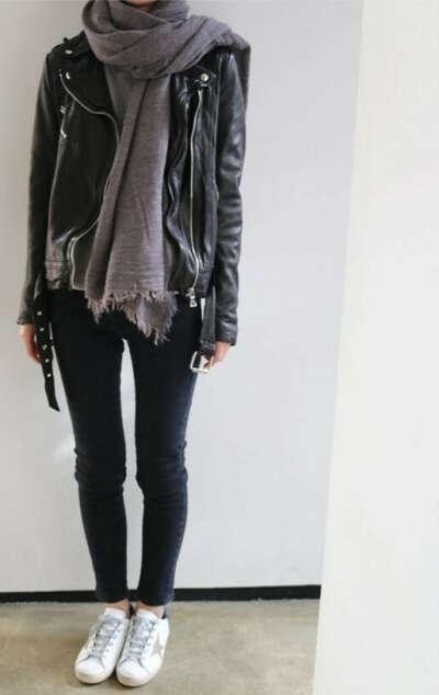 идеальная черная кожаная куртка
