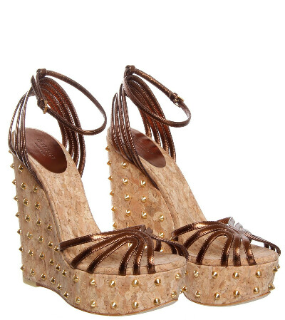 Gucci Dark Brown Leather Studded Wedge