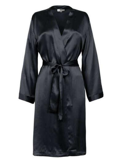 Шёлковый халат чёрный, без кружева