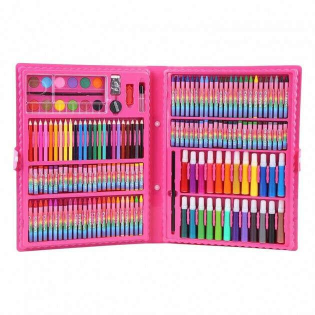 Мега набор для рисования 168 предметов подарок для ребенка розовый (6971136831217)