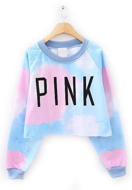 PINK Print Crop Sweatshirt