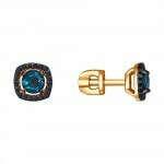 Серьги-пусеты из золота с топазами и фианитами