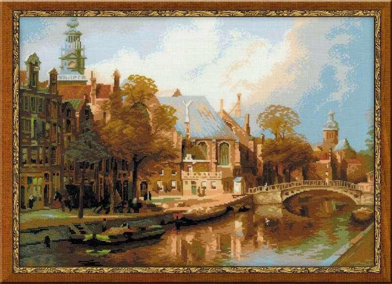 """«Амстердам. Старая церковь и церковь Св. Николая Чудотворца"""" по мотивам картины И. Клинкенберга»"""