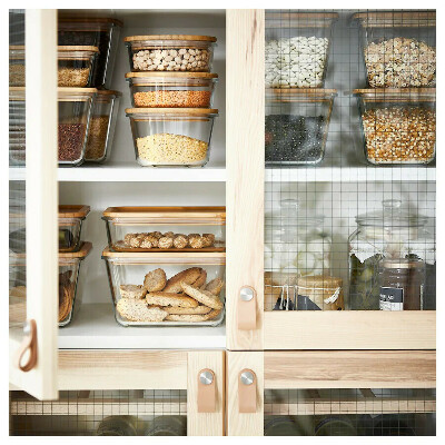 Стеклянные контейнеры с бамбуковыми крышками IKEA 365+
