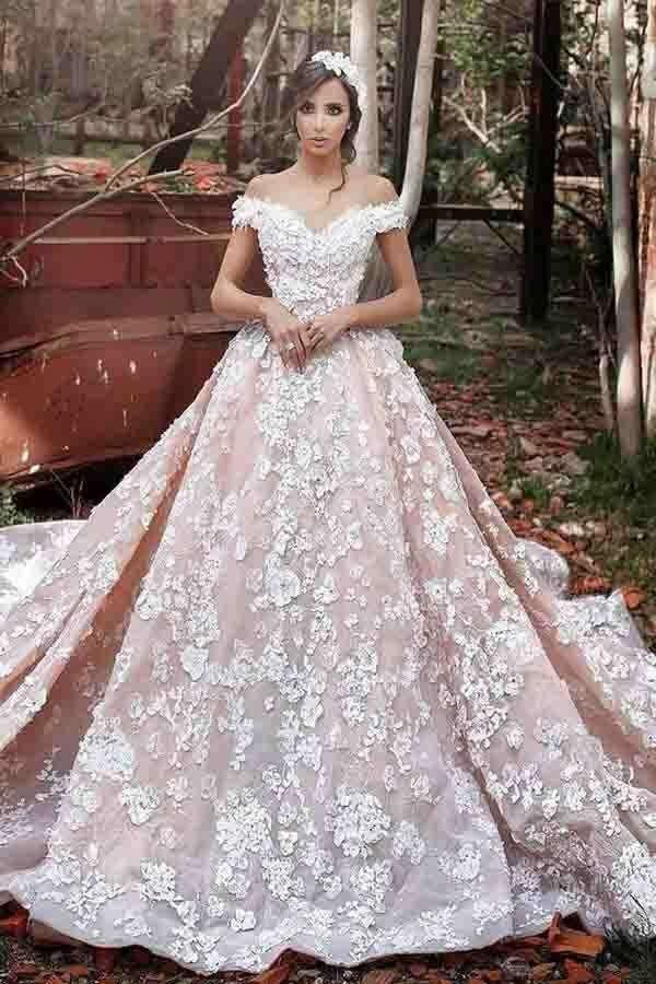 Luxurious Off Shoulder Watteau Train Formal Lace Dramatic Blush Wedding Dresses PFW0186