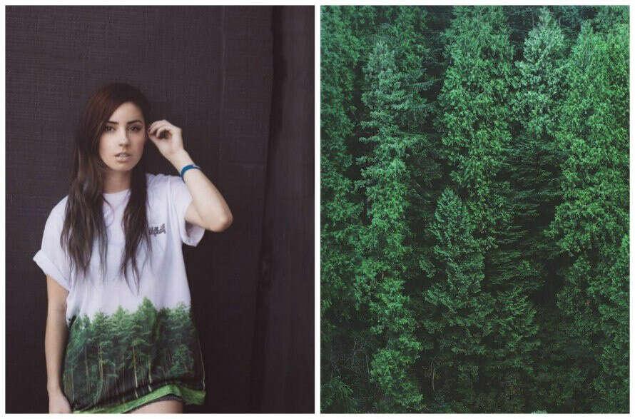 футболка с лесом