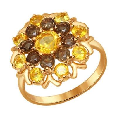 Кольцо из золочёного серебра с полудрагоценными вставками арт. 92011222
