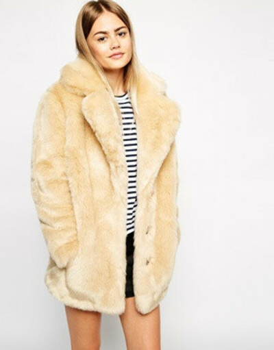 ASOS Faux Fur Coat With Oversized Collar