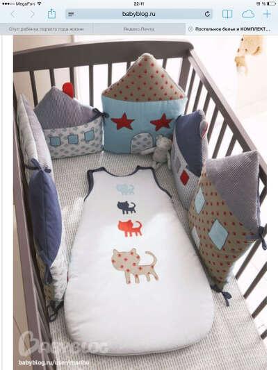 Постеленное белье и комплекты в кроватку, бортики и спальные мешки