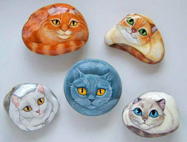 """Сувенирные камушки """"Кошки"""""""