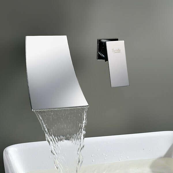 Waterfall Widespread Contemporary Bathroom Sink Faucet At FaucetsDeal.com
