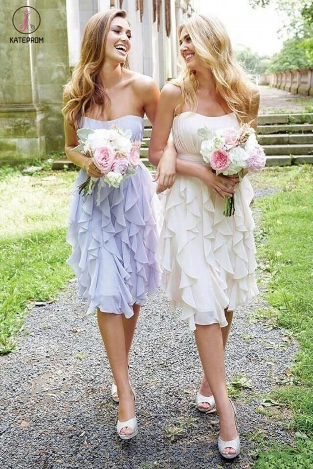 Empire Strapless Chiffon with Ruffles Knee-length Short Bridesmaid Dresses KPB0021