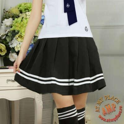 Черная юбка с белыми полосками
