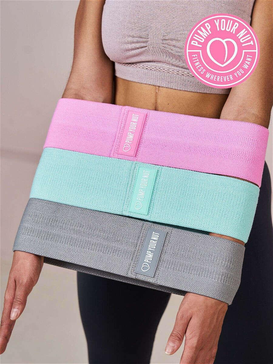 Резинка для фитнеса тканевая, набор из 3 фитнес лент в мешочке / эспандер + чехол + буклет Pump Your Nut 9706186 в интернет-магазине Wildberries