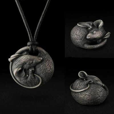 Миниатюрная скульптура Мышь, серебро