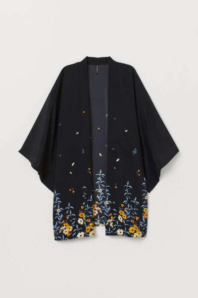 Кимоно с рисунком - Черный/Цветы - | H&M RU