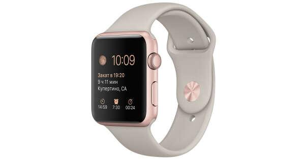 Apple Watch Sport - Корпус 42 мм, алюминий цвета «розовое золото», ремешок бежевого цвета