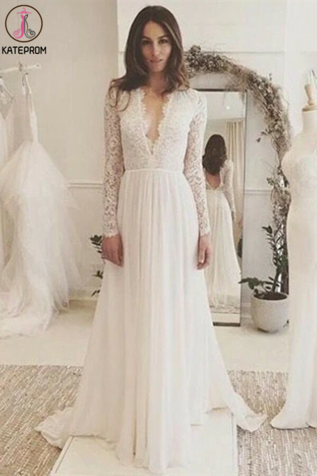 Kateprom Chic A-line Wedding Dresses Long Sleeve V neck Romantic Wedding Dress With Lace KPW0625