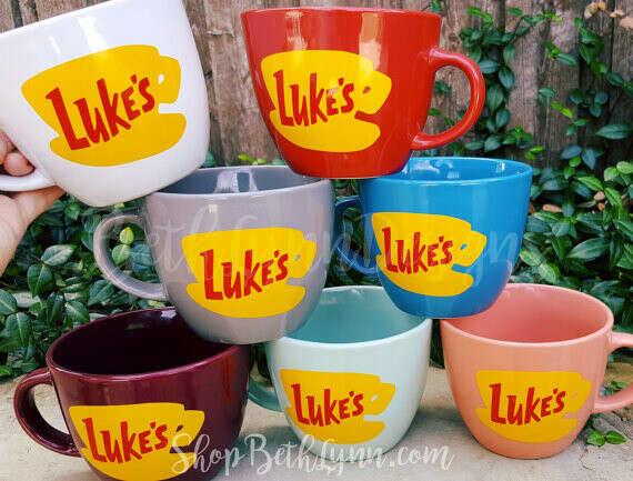 ORIGINAL Luke's Diner Mug | Big Mug | Lukes mug | Lukes Diner | Gilmore Girls Inspired | Mug | VINYL decal logo BOTH sides | 16 Ounces